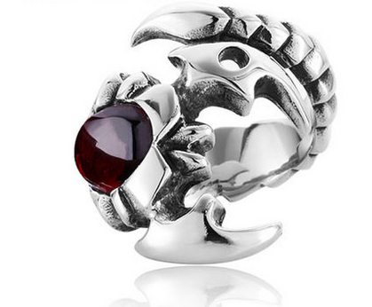 Mens Ruby Scorpion Titanium Steel Ring