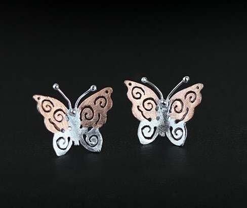 Retro 925 Sterling Silver And Gold-Plated Butterfly Earrings