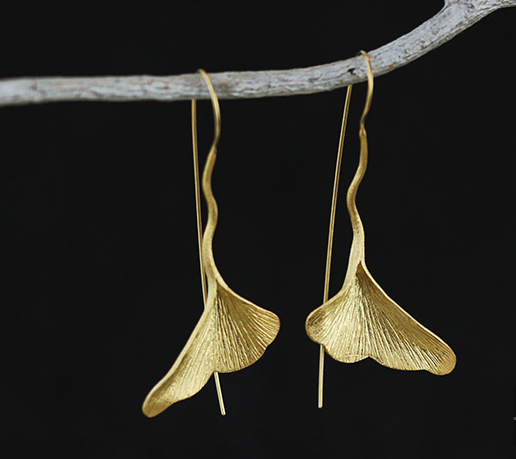Retro Handmade Sterling Silver And Gold-Plated Ginkgo Biloba Earrings