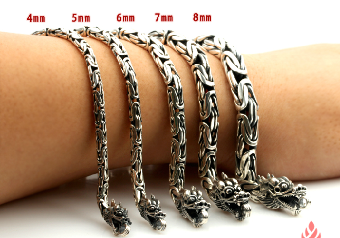 Retro Tibetan Handmade 925 Sterling Silver Double Dragon Head Bracelet