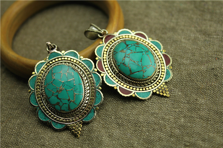 Handmade Turquoise Brass Beautiful Necklace Pendants