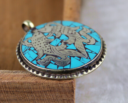 Nepal Handmade Copper Turquoise Double Fish Pendant