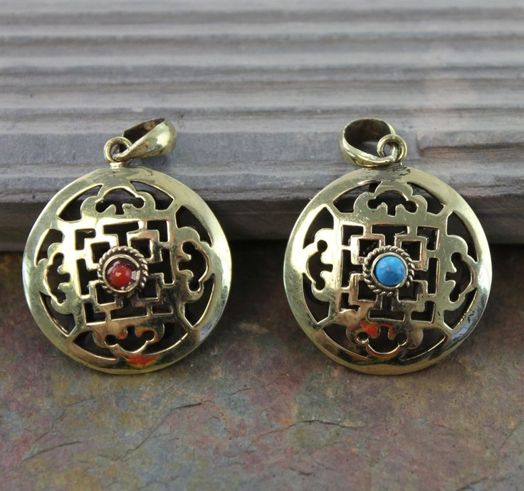 Nepal Retro Handmade Hollow Pattern Esoteric Buddhism Turquoise And Red Coral Copper Pendant