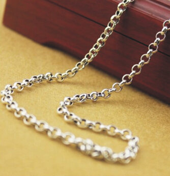 3MM Thickness 925 Sterling Silver Circled Necklace Chain For Sale