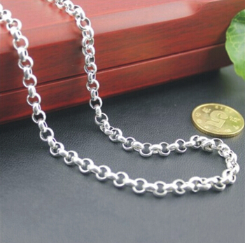 4MM Thickness 925 Sterling Silver Circled Neck Chain Links For Charms