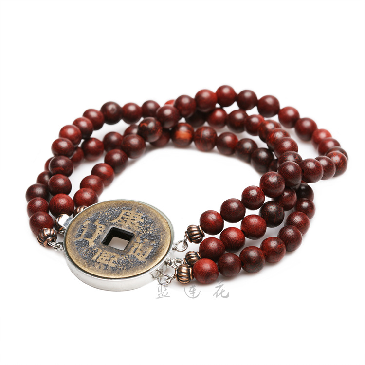 Handmade Natural Rosewood Bracelet Chinese Ancient Coins