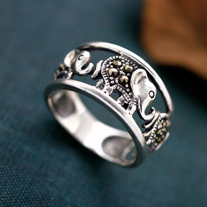 925 Sterling Silver Elephant Ring Wishbop Com