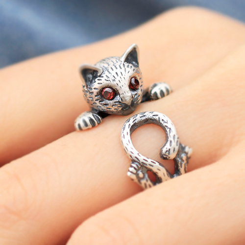 990 Sterling Silver Retro Small Cute Cat Ring Wishbop Com