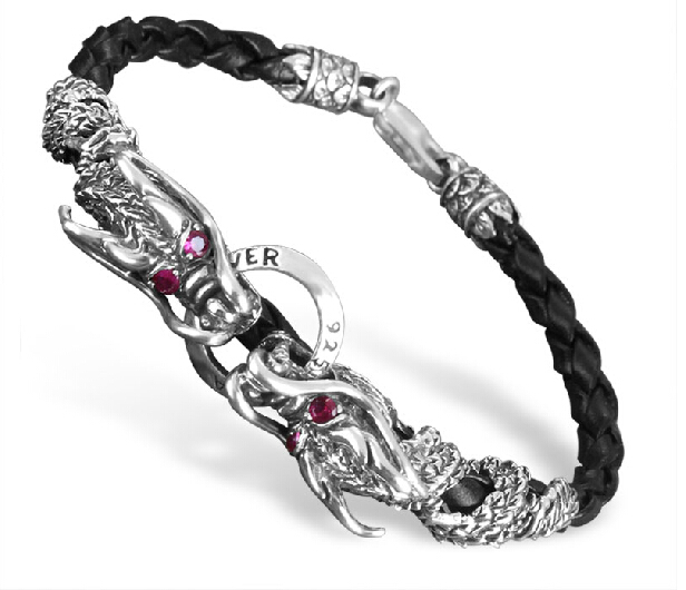 925 Sterling Silver Double Dragon Bracelet With Lobster Clasp