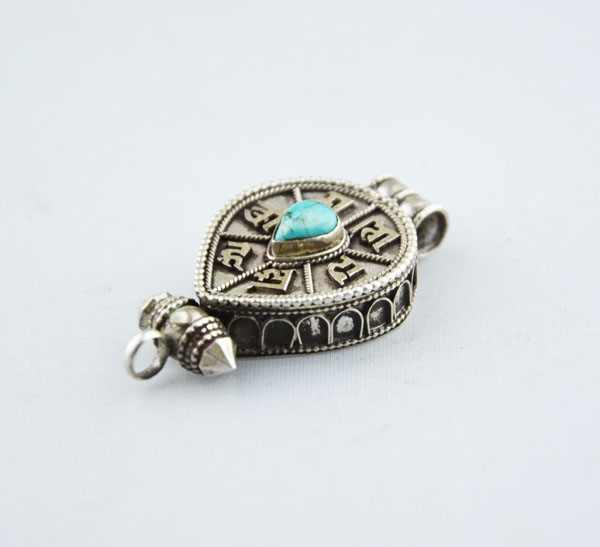 Handmade 925 Sterling Silver Natural Turquoise Tear Shaped Gaudencio Pendant