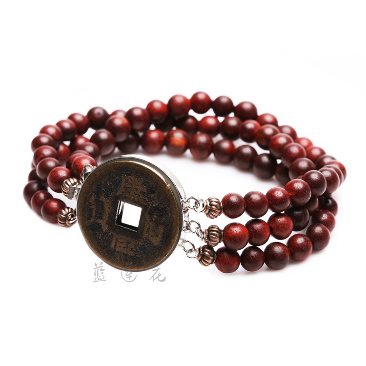 Handmade Natural Rosewood Bracelet Chinese Ancient Coins Style