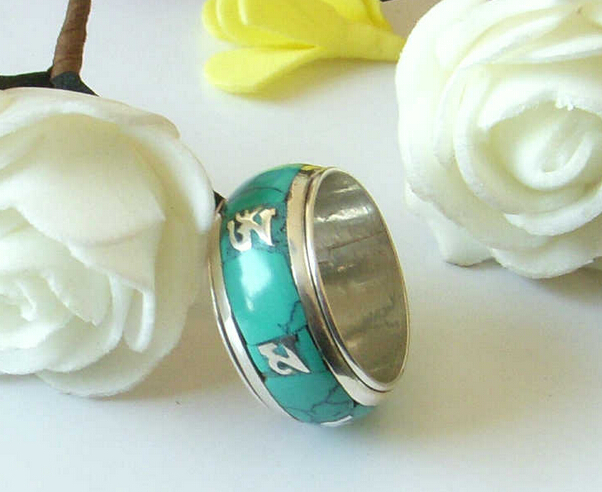 Handmade Nepal 925 Sterling Silver Om Mani Padme Hum Mantra Turquoise Ring