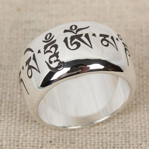 Handmade S990 Sterling Silver Om Mani Padme Hum Ring