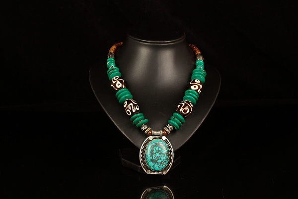Handmade Tibetan Silver Turquoise Buddha Eyes Necklace