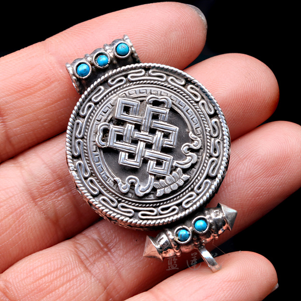 Nepal Handmade 925 Sterling Silver Turquoise Endless Knot Gaudencio Box
