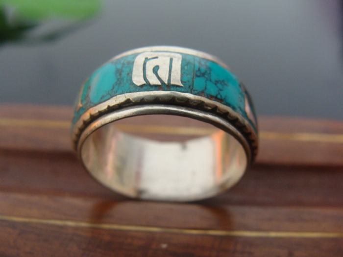 Nepal Handmade Tibetan Silver And Turquoise Ring