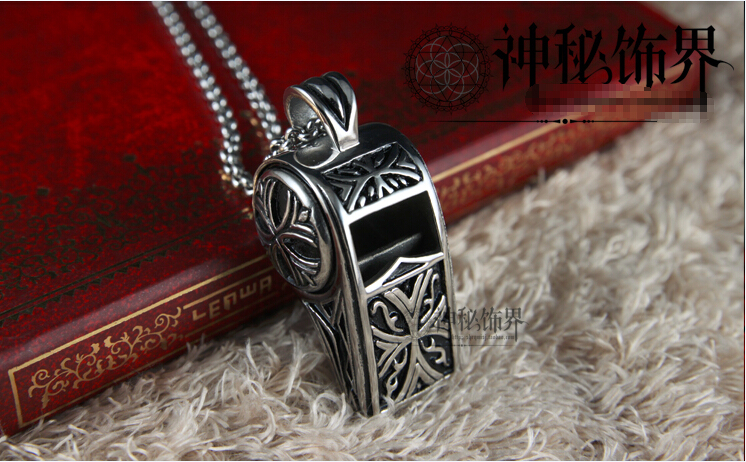 Retro Style Whistle Accessories Mens Titanium Steel Necklace Pendant With Chain