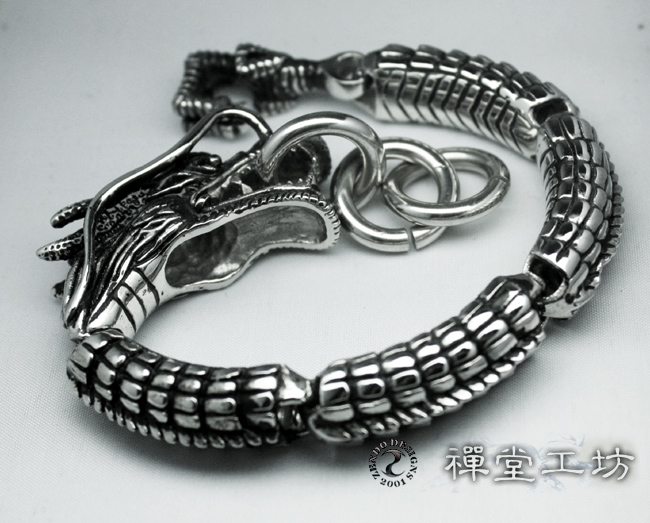 Tibet Silver Dragon Bracelet With Relief Sculpture Tin Box