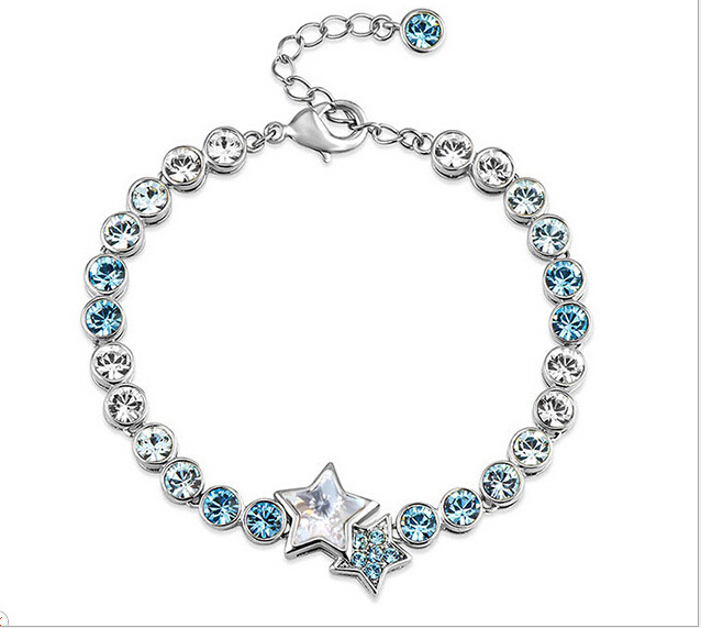 Women Fashion Jewelry Star Heart Shaped Crystal Bracelet