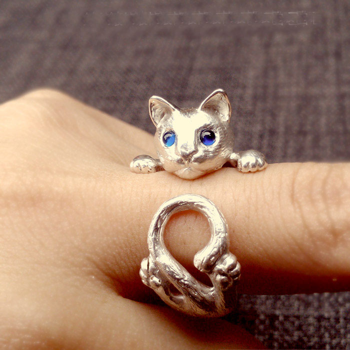 Handmade Cute Cat And The Eyes Mosaic Gem 925 Sterling