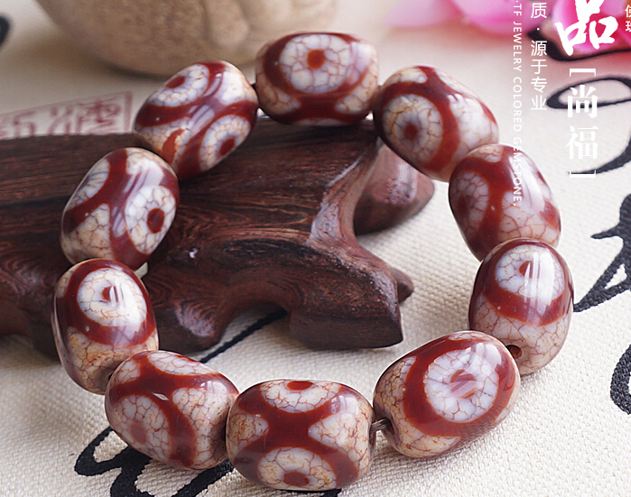 Consecration Tibet Good Luck Totem Dzi Beads Wrist Malas Buddhist Prayer Beads Bracelet