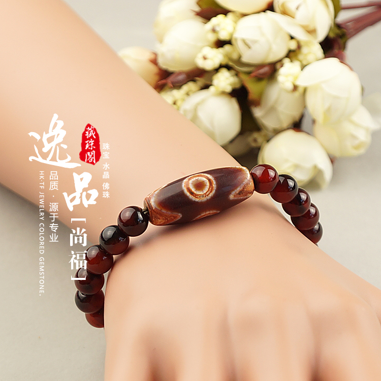 Handmade 8MM Bloodstone Beads Three Eyes Dzi Tibetan Buddhist Bracelet