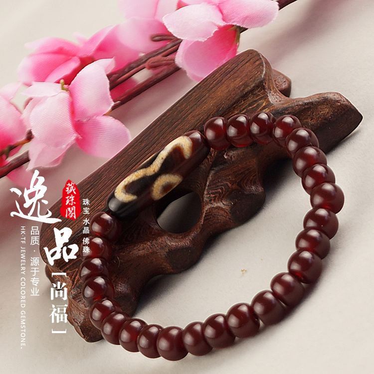 Handmade Bloodstone Beads Luck Two Eyes Dzi Tibetan Buddhist Bracelet