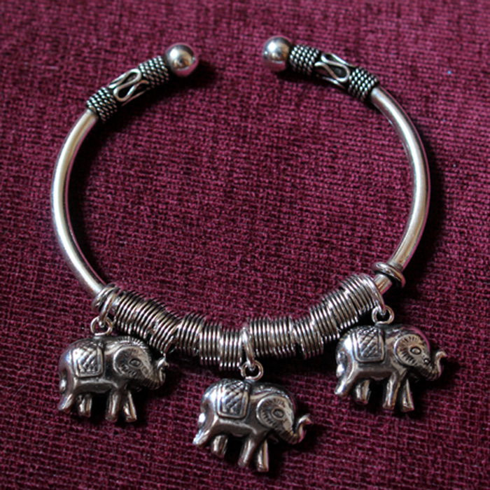 3 Thailand Elephants 925 Silver Open Bracelet For Women