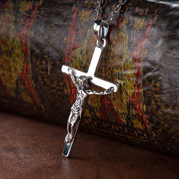 925 Silver Jesus Christ Suffering Cross Pendant With No Chain