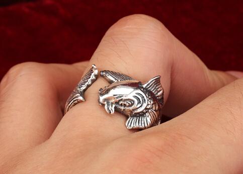 Retro Men 925 Silver Fish Ring Wishbop Com