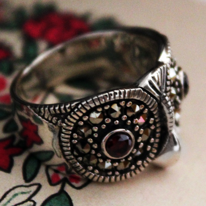 Handmade Vintage Owl Sterling Silver Ring With Marcasite