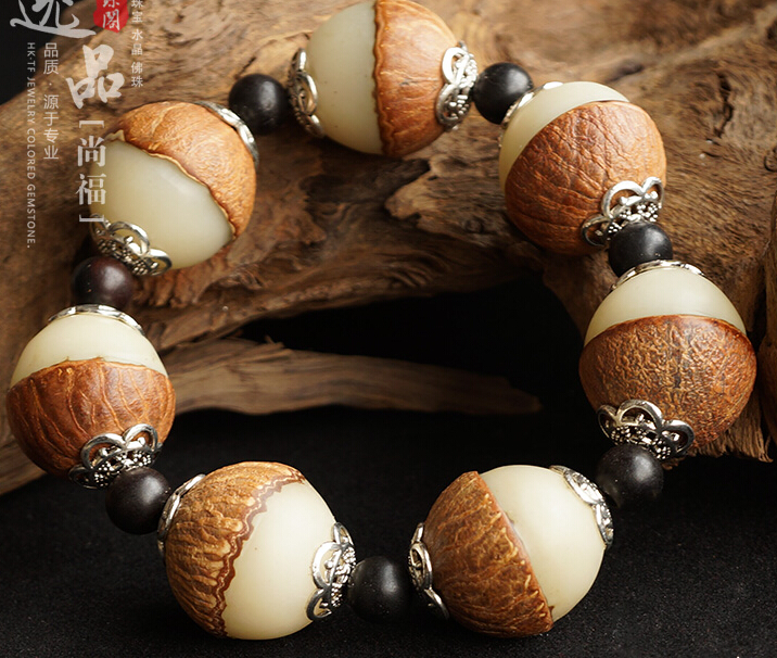 Big 21MM White Jade Natural Bodhi Root Beads Yin and Yang Buddha Bracelet