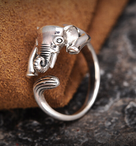 Cute Fashion S925 Silver Elephant Open Ring
