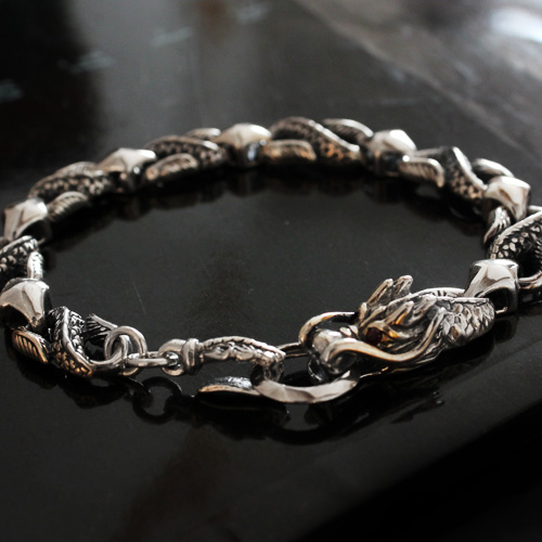 Dragon Vintage Silver Bracelet For Man
