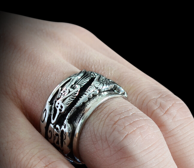 Fashion 925 Silver Dragon Carving Wide Prayer Ring