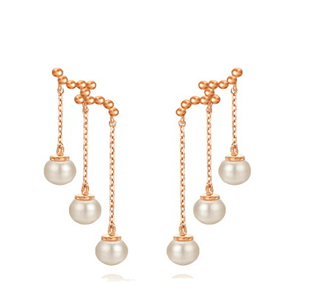 Fashion 925 Silver With Rose Gold Plated Tassel Pearls Earrings