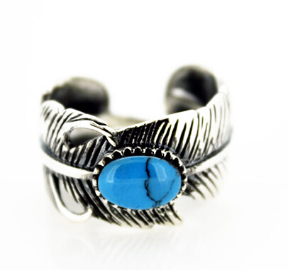 Handmade Indian Feather Ring Inlay Turquoise Thai Silver Men Open Ring