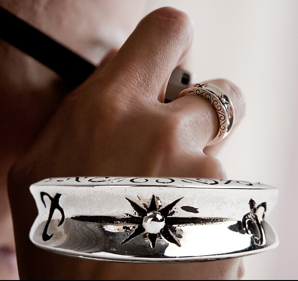 Handmade Indian Inca Empire Sun Pattern Totem Silver Man Ring