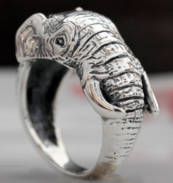 Handmade Thai Silver Three-dimensional Elephant Nose Ring
