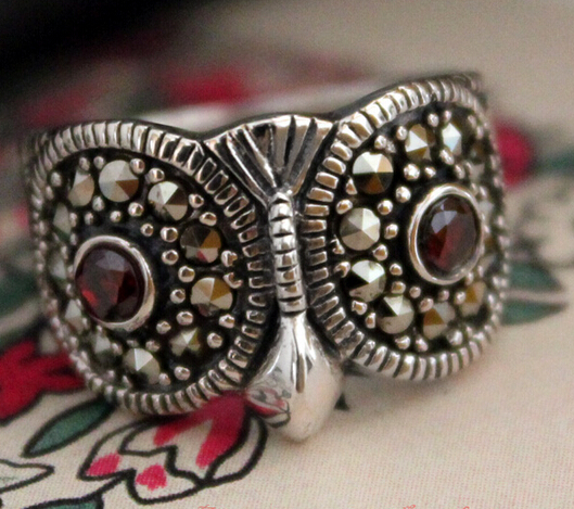 Handmade Vintage Owl Sterling Silver Ring With Marcasite Women