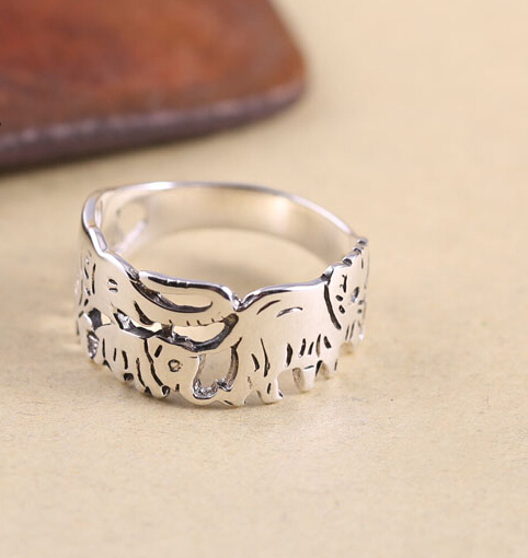 Lucky Carving Baby Elephants Hollow 925 Silver Ring