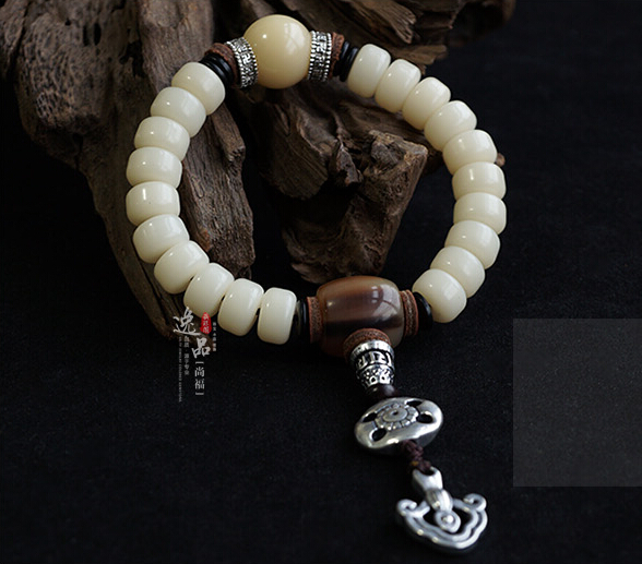Natural 9MM or 11MM White Jade Bodhi Buddha Bracelet With Tibetan Silver Charms
