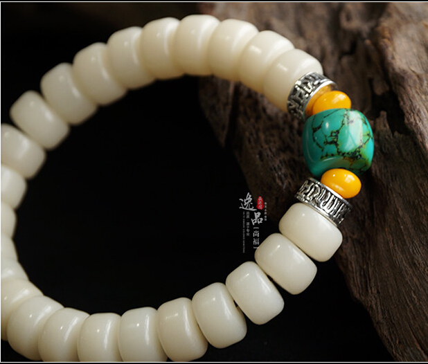 Natural Turquoise 9MM or 11MM White Jade Bodhi Buddha Bracelet