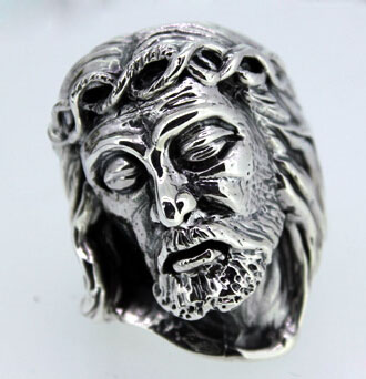 Religion Jesus Head Face 925 Silver Ring
