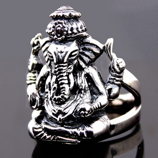 Retro Elephant Meditation Status 925 Silver Mens Ring