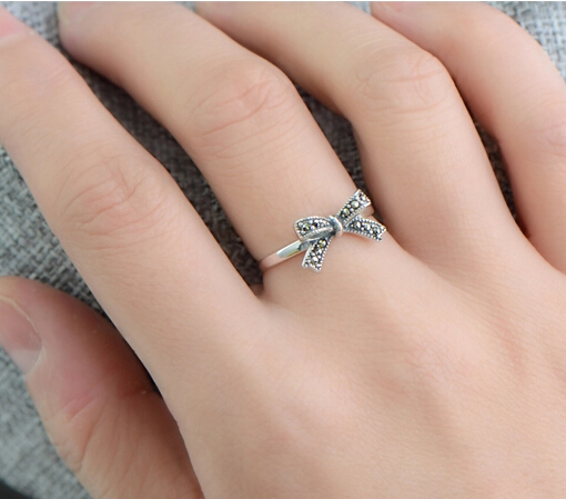 Retro S925 Silver Bow Knot Ring With Marcasite For Woman