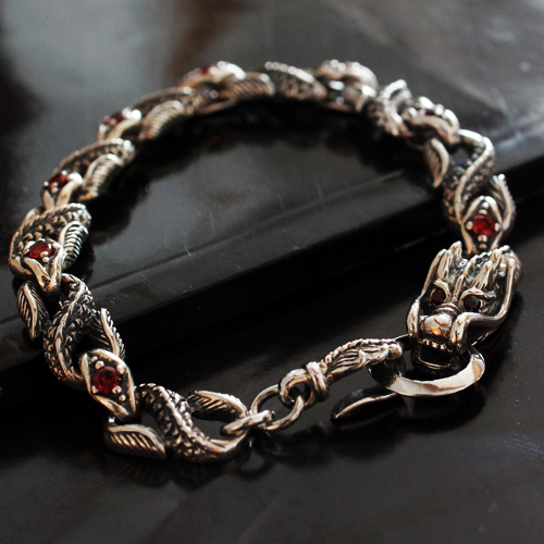 Retro Thailand 925 Silver Dragon Bracelet With Red Gem