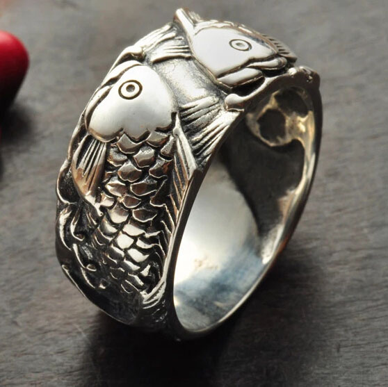 S925 Silver Double Fish Carving Ring For Man And Woman