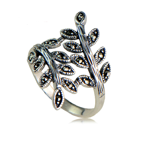 S925 Vintage Tree Branch Leaves Ring With Marcasite