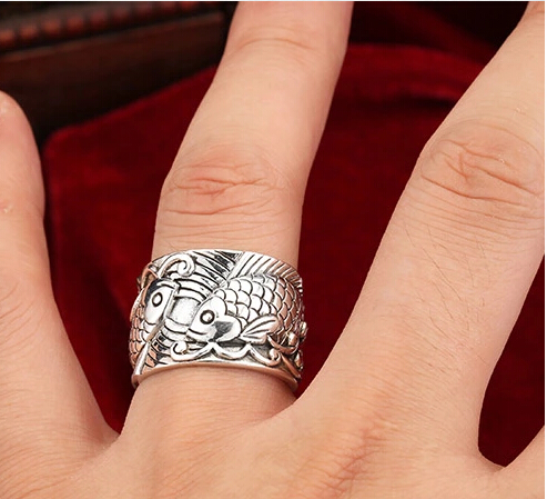 Silver 925 Couple Fish Vintage Wide Open Ring